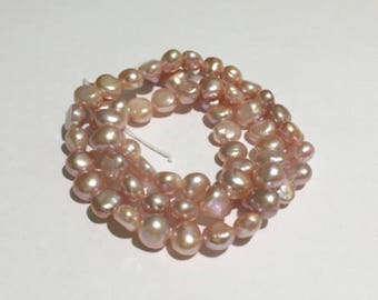 Pink Fresh Water Pearl, Pearls, Semi Precious Beads, 7mm
