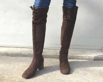 1960s Chelsea Cobbler brown suede over the knee boots  - size 5 - go go boots - 60s brown suede boots - vintage thigh high boots - go go
