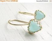 CHRISTMAS SALE - Blue Opal earrings - Gold earrings - Dangle earrings with opal stone - gold hearts earrrings