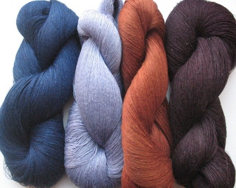 Linen Yarn Violet Chocolate Brown Blue 400 gr (14 oz ), Cobweb / 1 ply, each hank contains approximately 3000 yds
