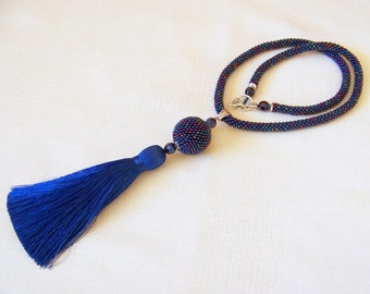 Iridescent Blue Tassel Necklace - Long Necklace - Bead Crochet Rope Necklace - Statement Tassel necklace - beaded tassel pendant