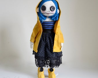 OOAK Coraline - Tim Burton Inspired Button Eyed Art Doll - Fabric Doll - Handmade by Cheryl Austin