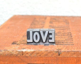 Ships Free - LOVE - Vintage letterpress metal type collection - wedding, anniversary, love, girlfriend, boyfriend, industrial TS1025