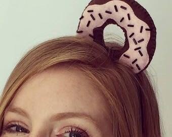 Womens headband, Donat headband, Unique headbands, Hair accessories, Pink hairband, Sweet headband, Party hairband, Costume headband
