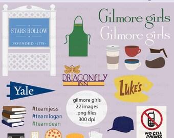 Gilmore Girls Digital Clipart Set - Instant download PNG files