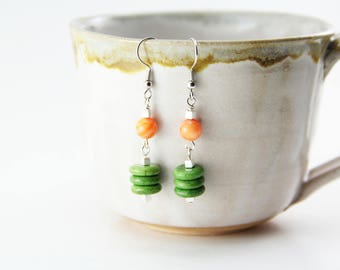 Orange and Lime Green Nickel Free Earrings