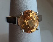 Imperial Hessonite Garnet Ring Large Oval Solitaire Ring January Birthstone Sterling Silver Size 7 Engagement Ring