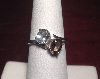 Aquamarine and Smoky Quartz Ring Double Oval Side-By-Side Sterling Silver Birthstone Ring