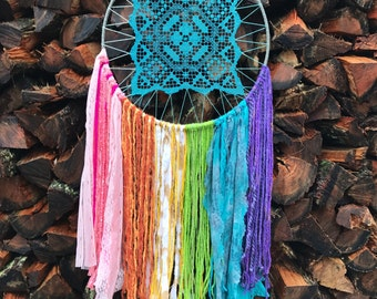 X-large pastel rainbow dreamcatcher