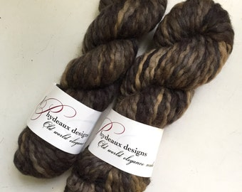 40% Off Super Bulky Phydeaux Designs Crepe Wool Yarn Hand Dyed Browns 4 oz 70 yards