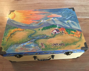 Hand painted box, can personalize with a name, quote or poem on inside of lid