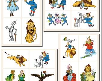 Wonderful Wizard of Oz Printables by L. Frank Baum, POSTCARD SIZE,  (3.5 x 5 Inch  or 12.7 x 8.8 cm), 20 Total