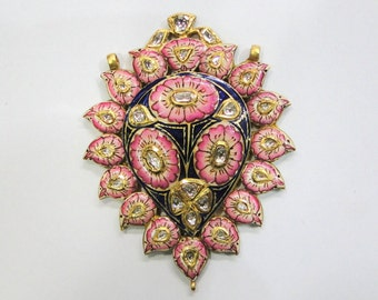 Vintage antique Solid 22K Gold jewelry Diamond polki enamel work pendant india