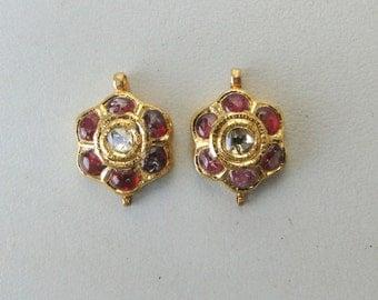 Vintage Antique 20 Carat Gold Diamond Polki Kundan Earring Pair Rajasthan India