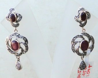 Victorian Diamond & Ruby 14 Ct Gold Silver Earring
