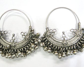 Vintage antique ethnic tribal old silver jewelry earring pair Rajasthan India.