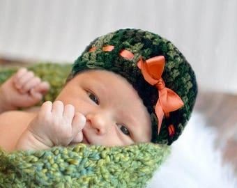Orange GIRL CAMO HAT,  Baby Camo Beanie, Crochet Camo Hunter Orange, Camouflage Baby Girls Beanie, Baby Girls Camouflage Hat, Knit Camo hat