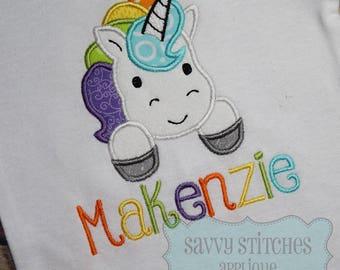 Unicorn Machine Embroidery Applique Design