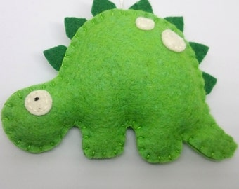 Green dinosaur ornament - felt Stegosaurus animals for bys kids room ideas Nursery decor Christmas home decoration