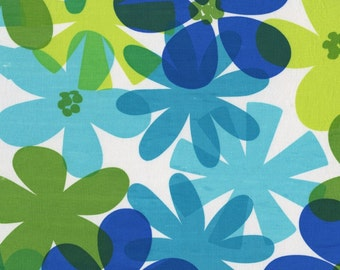 SALE/Fabric by Michael Miller/Blue, Aqua, and Lime Flowers on White/Cotton Material/Quilting, Clothing/Fat Quarter, Half, By The Yard
