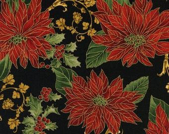 Christmas Fabric/Red Poinsettias on Black/Metallic Gold/Timeless Treasures/Cotton/Quilting, Clothing/Fat Quarter, Half, By the Yard, Yardage