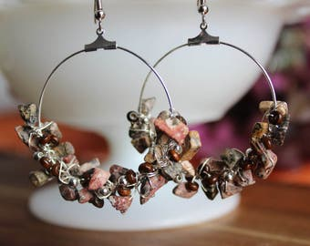 Natural stone, wood, and silver wire wrapped earrings