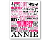 Trumpet Typography Poster Print, Marching Band Wall Art Gift, Music Room Wall Art, Trumpeter Trumpet Player or Band Teacher Gift