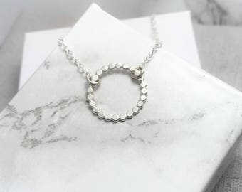 Silver Circle Necklace   Beaded Silver Circle Necklace   Open Circle Layering Necklace   Orbe Necklace   Silver Jewellery UK