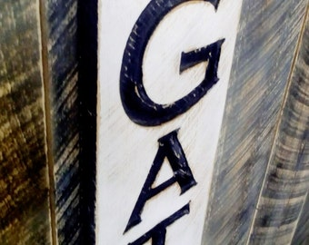 "Vertical Gather Sign - Carved in a 40""x10"" Cypress Board Rustic Distressed Kitchen Farmhouse Style Restaurant Cafe Wooden Wood Gift"
