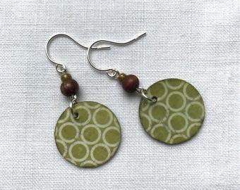 Modern Handmade Sterling Silver Paper Dangle Green Circles Print Earrings - Small