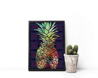 Pineapple Printable Wall Art   Digital Prints   Digital Art   Patterned Background Digitally Painted Pineapple   PDF   Watercolor Art Print
