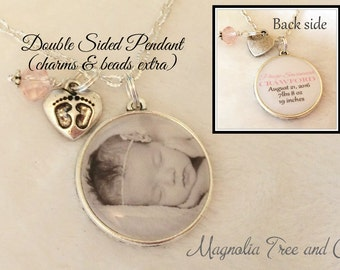 Add a Double Sided PHOTO PENDANT, Additional Name, Children's names, Inspirational Quote, Photo Charm, Two Sided