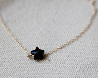 Choker,Dainty Necklace,Star Necklace,Delicate necklace,Dainty Star necklace,Layering necklace,Minimalistic,Black star