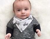 Baby Bandana Bib - Baby Bandana - Drool Bib - Vintage Motorcycle on White Cotton Jersey Blend Knit