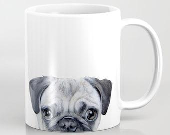 Pug mug cup, Original illustration by Miart  MUG 11 OZ
