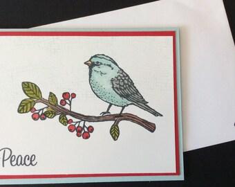Christmas, Holiday, Peace, Bird, Berries, Nature, Handmade, stampin up