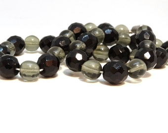 Vintage Glass Bead Necklace Black Gray Large Big Crystal Art Glass Beads Barrel Clasp Art Deco Jewelry