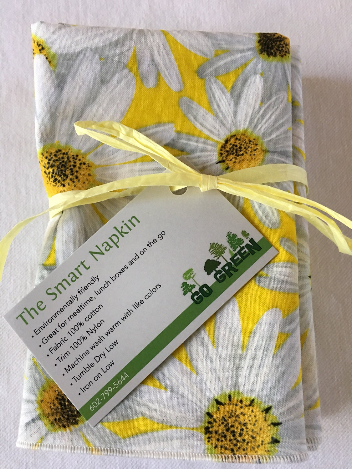 Mother 39 s day cloth napkin yellow with white daisies all for 12x15 calculator