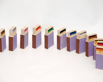Twelve matchboxes striker from two sides, wooden matches inside, handpicked, multicolor