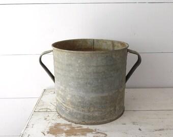 Vintage Galvanized Zinc Tub, Hungarian Planter, Two Handled Pot, Farmhouse, Garden Decor   BoulderBlueStudio