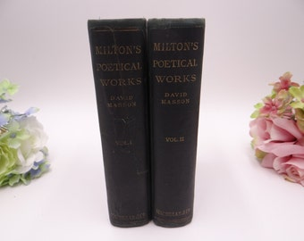 """First Edition 1874 """"The Poetical Works of John Milton"""" by David Masson Two Volume Set"""