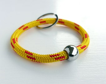 keychain or key bangle from bright sailing rope, yellow with red stripes, metal bead, metal key ring