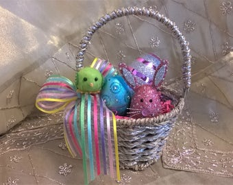Mini Easter Basket with Blingy Bunny & Fillable Eggs