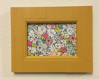 Picture Frame , Upcycled , Handpainted Yellow , 5x7 Photo Frame , Distressed Decor , Home Decor Yellow