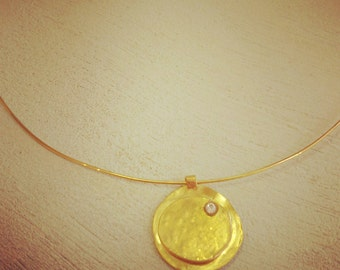 Gold collar necklace, gold choker, Israeli jewelry, statement necklace,  contemporary necklace