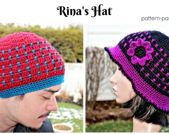 Crochet Pattern Beanie Cloche Hat Rina PDF 12-108