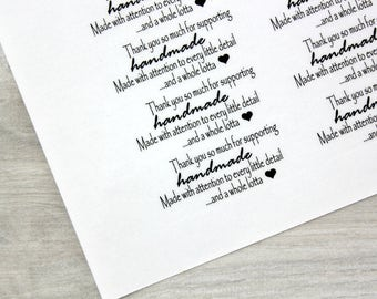 """Shop Labels - Clear Glossy Labels 2 5/8"""" x 1"""" - 21 labels - """"Thank you for supporting handmade"""""""