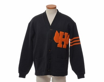 Vintage 40s Wilson Wool Varsity Letterman Sweater 1940s Black Knit Orange Chenille Wings Wing Letter Rockabilly Cardigan Jacket size 46 / L