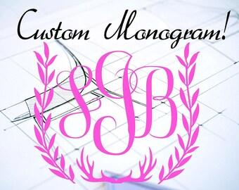 Custom Monogram Decal, Hunting and Vines Custom Monogram Name Car and Wall Decal Monogram Name Car Decal For women