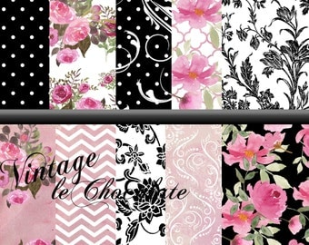 Digital Pink and Black Paper, Floral Pink and Black Watercolor Paper, Digital Scrapbook Paper, Pink Rose Paper, Scrapbook Paper. No. P158